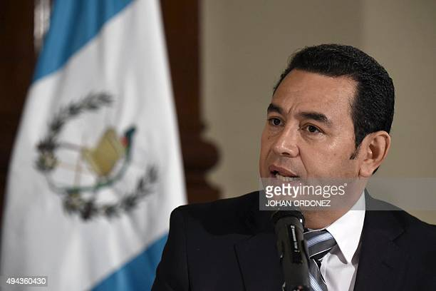 President elect Jimmy Morales of the National Front Convergence speaks during a press conference in Guatemala city on October 26 2015 Morales a comic...