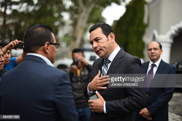 President elect Jimmy Morales of the National Front Convergence after a press conference in Guatemala city on October 26 2015 Morales a comic actor...