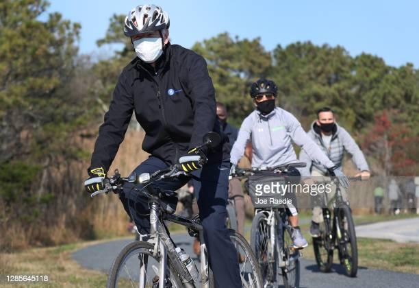 President Elect Joe Biden and his wife Jill Biden take a bike ride through Cape Henlopen State Park on November 14, 2020 in Lewes, Delaware....