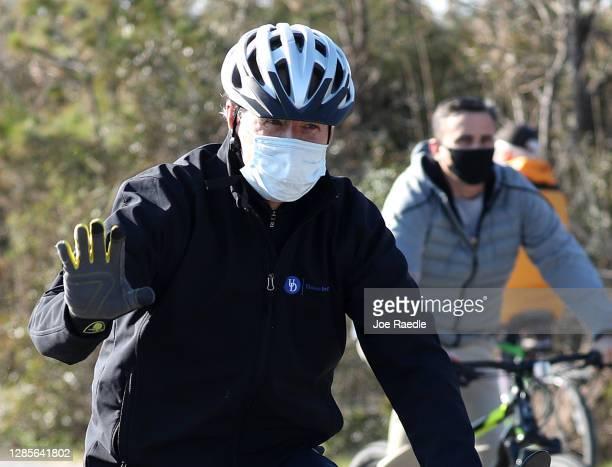 President Elect Joe Biden takes a bike ride through Cape Henlopen State Park on November 14, 2020 in Lewes, Delaware. President Elect Biden has been...