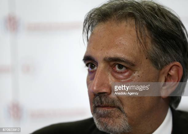 President elect of International Federation of Red Cross and Red Crescent Societies Francesco Rocca holds a press conference after being president of...