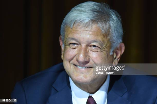 President Elect of Mexico Andres Manuel Lopez Obrador speaks during a press conference at Salon D'Luz on July 5 2018 in Mexico City Mexico