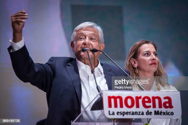 President elect of Mexico Andres Manuel Lopez Obrador speaks during the celebration event at the end of the Mexico 2018 Presidential Election on July...