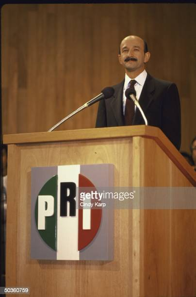 President Elect of Mexico Carlos de Salinas Gortari declaring his victory in the Mexican presidential elections.