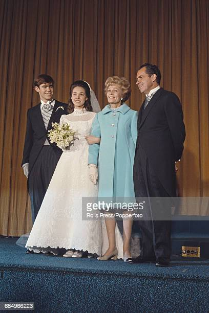 President Elect of the United States Richard Nixon pictured with his wife Pat Nixon at the wedding of their daughter Julie and David Eisenhower in...