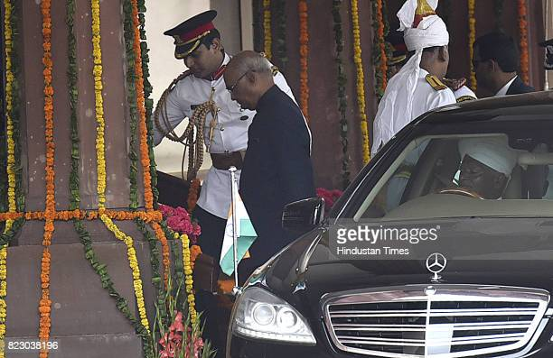 President elect Ram Nath Kovind arrives at Parliament House for his Oath ceremony at Parliament House on July 25 2017 in New Delhi India Ram Nath...