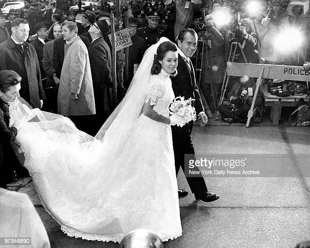 President elect, Richard Nixon with his daughter Julie on the way to marble Collegiate Church for her marriage to David Eisenhower.
