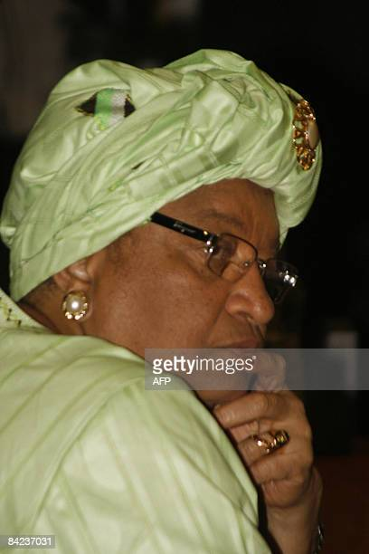 President Ellen Johnson Sirleaf of Liberia is pictured during the Special Summit of the Economic Community of West African States at the Transcorp...