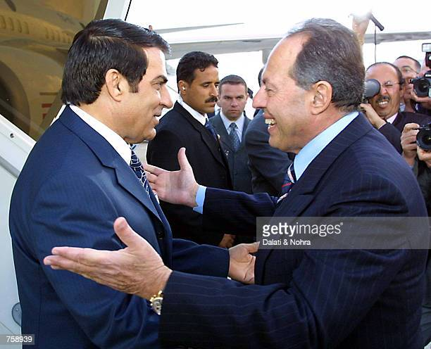 President Emile Lahoud of Lebanon greets Tunisia's President Zeiin Elaabidine Ben Ali arriving to attend the Arab Summit March 26, 2002 at the Beirut...