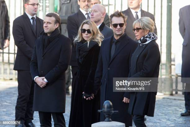 President Emmanuel Macron Laura Smet David Hallyday and Brigitte Macron at the France National Tribute to Johnny Hallyday at Eglise De La Madeleine...