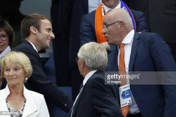 President Emmanuel Macron of France, chairman Michael van Praag of KNVB during the FIFA World Cup 2018 qualifying match between France and...