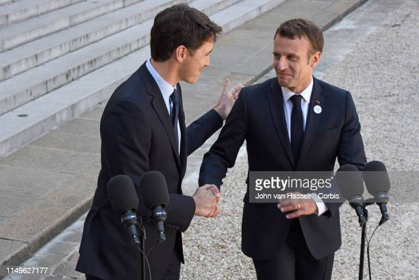 President Emmanuel Macron of France invites Prime Minister Justin Trudeau of Canada to the Elysée Palace on May 16 2019 in Paris France
