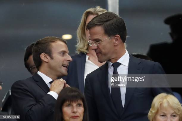 president Emmanuel Macron of France premier Mark Rutte of The Netherlands during the FIFA World Cup 2018 qualifying match between France and...
