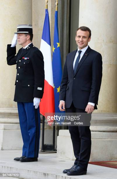 President Emmanuel Macron of France receives the Canadian Prime Minister Justin Trudeau at the Elysee Palace on April 16 2018 in Paris France