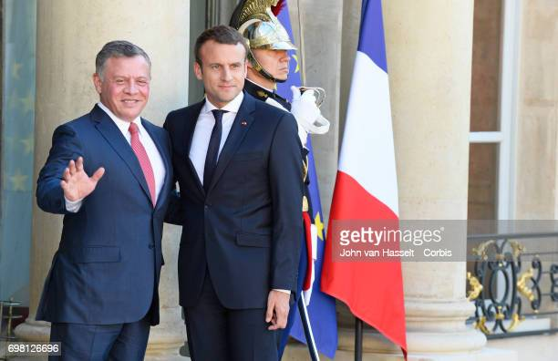 President Emmanuel Macron of France receives the King of Jordan His Majesty Abdullah II at the Elysée Palace on June 19 2017 in Paris France