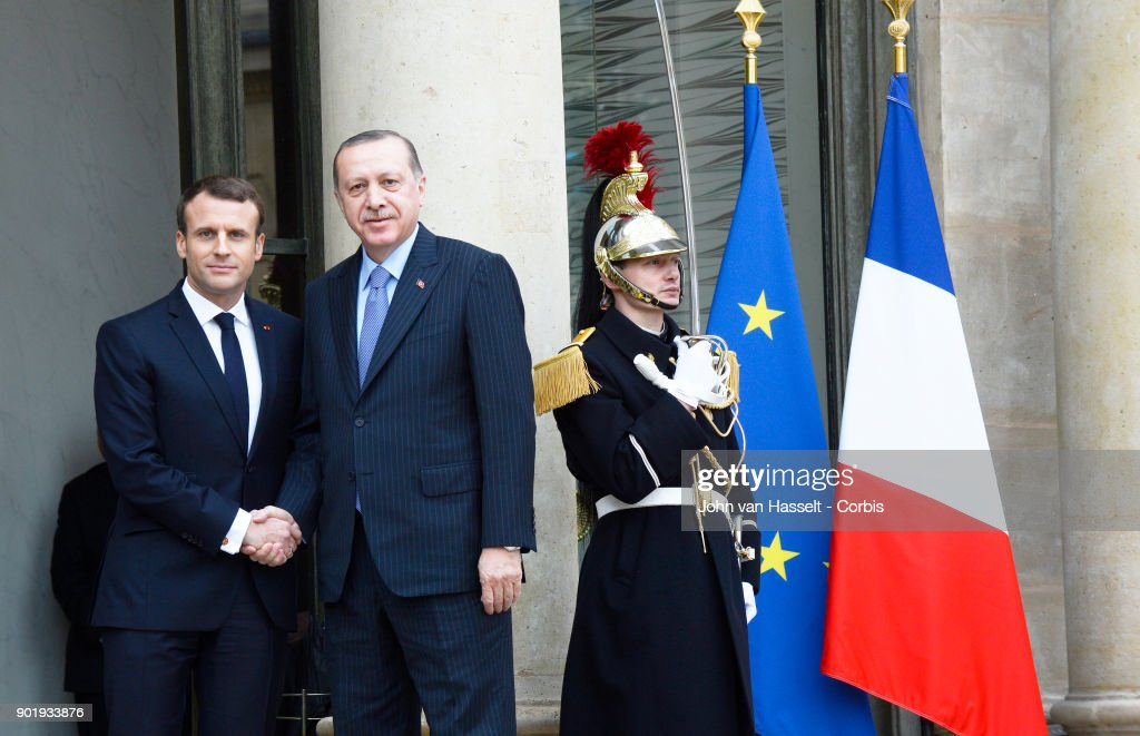 President Emmanuel Macron of France receives Turkish President Recep Tayyip Erdogan at the Elysée Palace on January 5, 2018 in Paris, France. Main topics of discussion are human rights and the fight against terrorism.