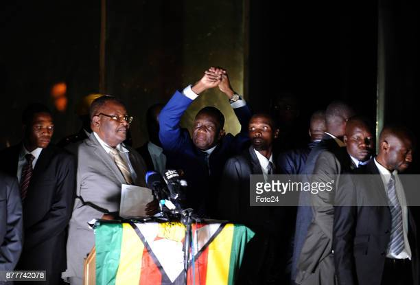 President Emmerson Mnangagwa with his wife Auxillia addressing the people of Zimbabwe at the ZanuPf headquarters on November 22 2017 in Harare...