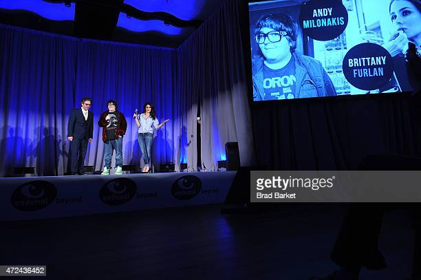 President Endemol Beyond USA Will Keenan Andy Milanokis and Brittany Furlan speak onstsage at Endemol Beyond NewFronts 2015 at Current at Chelsea...