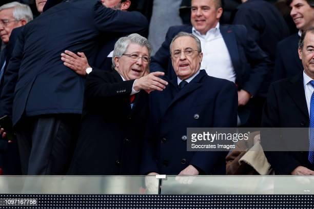president Enrique Cerezo of Atletico Madrid president Florentino Perez of Real Madrid during the La Liga Santander match between Atletico Madrid v...