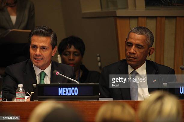 President Enrique Pena Nieto of Mexico and President Barack Obama attend an Open Government Partnership meeting during the United Nation's 69th...
