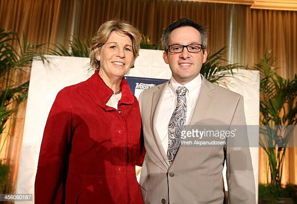 President Entertainment Digital Microsoft Nancy Tellem and Editor in Chief Digital Variety Andrew Wallenstein onstage during Variety's Dealmakers...