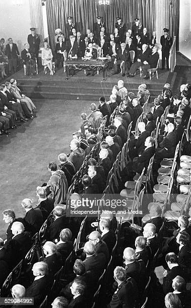 President Erskine Childers during his inaugural ceremony at Dublin Castle On left is Mrs Rita Childers former President Eamon De Valera whom Mr...