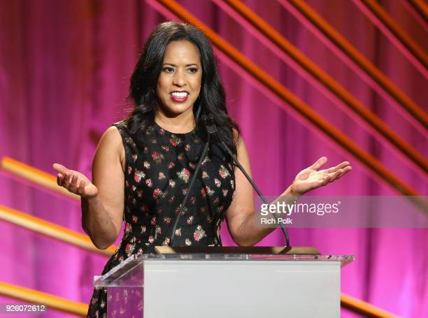 President Essence Communications Inc Michelle Ebanks speaks onstage during the 2018 Essence Black Women In Hollywood Oscars Luncheon at Regent...