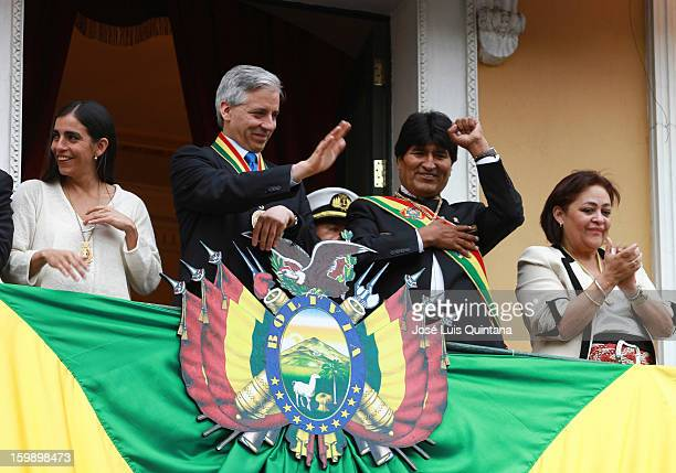 President Evo Morales and Vice President Álvaro García Linera salute from the balcony of the government palace Official to Social Organizations...