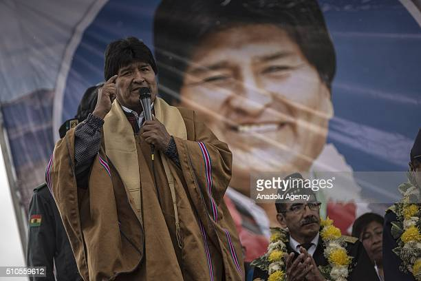 President Evo Morales attends the inauguration of the new buildings of the residential area 'Wiphala' a government's social housing project where...