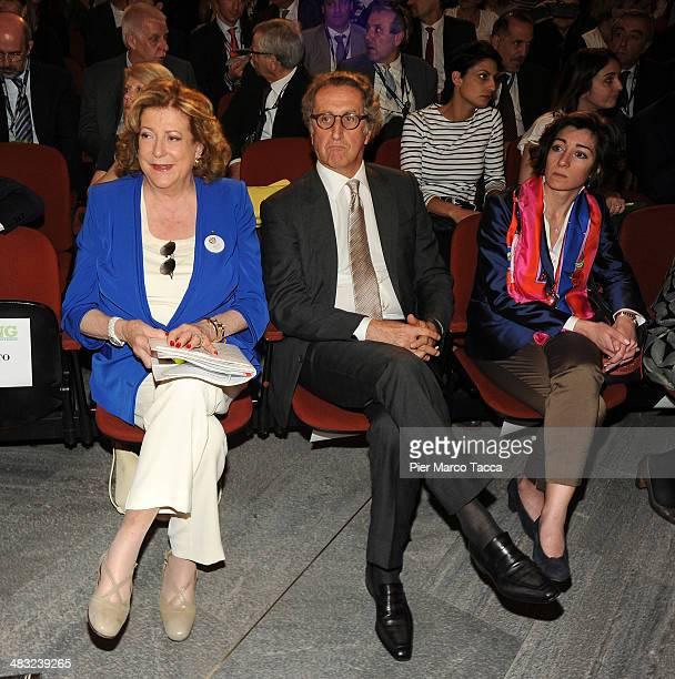 President Expo 2015 SpA Diana Bracco CEO of Mondadori Group Ernesto Mauri and Crstina Tajani attend 'Feeding' the Milan Design Week Press Conference...
