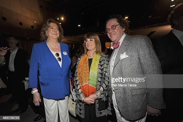 President Expo 2015 SpA Diana Bracco Editor of Interni magazine Gilda Bojardi and Professor Philippe Daverio attend 'Feeding' the Milan Design Week...