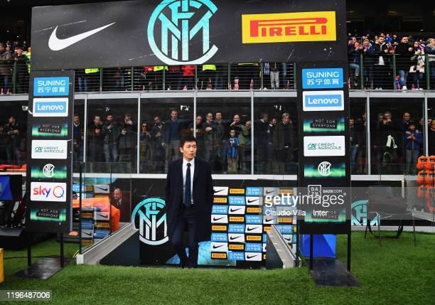 President FC Internazionale Steven Zhang attends the Serie A match between FC Internazionale and Cagliari Calcio at Stadio Giuseppe Meazza on January...