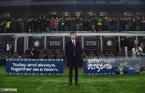 President FC Internazionale Steven Zhang attends the Serie A match between FC Internazionale and AC Milan at Stadio Giuseppe Meazza on February 9,...