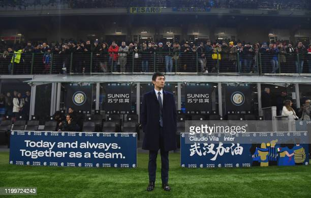 President FC Internazionale Steven Zhang attends the Serie A match between FC Internazionale and AC Milan at Stadio Giuseppe Meazza on February 9...