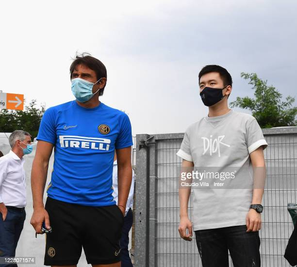 President FC Internazionale Steven Zhang Kangyang and head coach FC Internazionale Antonio Conte pose for a photo before a training session on August...