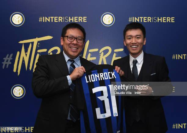 President FC Internazionale Steven Zhang Kangyang and member of the Board of FC Internazionale Daniel Kar Keun Tseung pose for a photo during the FC...