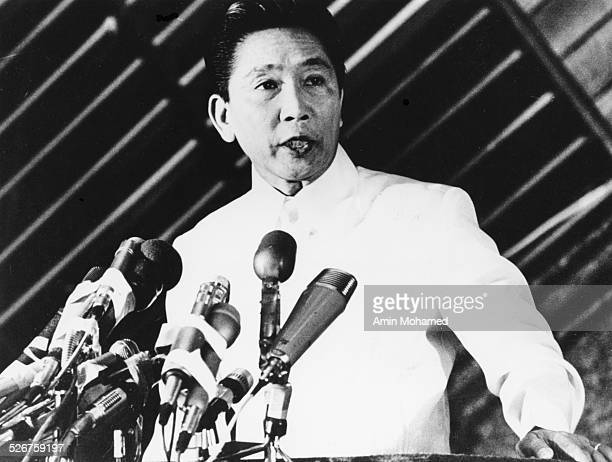 President Ferdinand E Marcos of the Philippines addressing a UNCTAD meeting in Nairobi Kenya May 1976