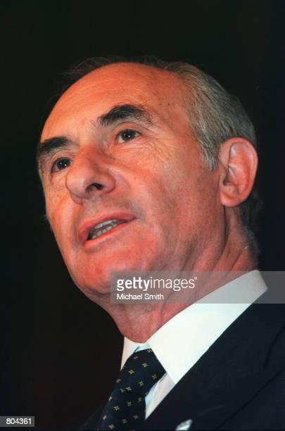 President Fernando de la Rua of Argentina speaks at a press conference June 13 2000 in Washington De la Rua is in Washington to meet with President...
