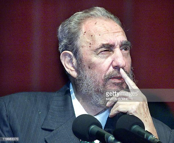 President Fidel Castro meditates during a speech in Quito Equateur 30 November 2002 El jefe de estado Cubano Fidel Castro medita durante un discurso...