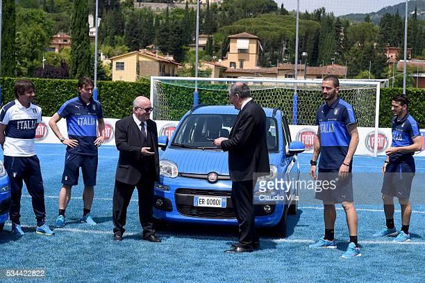President FIGC Carlo Tavecchio and COO FCA Alfredo Altavilla attend Unveil New Panda Azzurri Car at Coverciano on May 26 2016 in Florence Italy