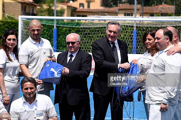 President FIGC Carlo Tavecchio and COO FCA Alfredo Altavilla attend Unveil New Panda Azzurri Car at Coverciano on May 26 2016 in Florence Italy