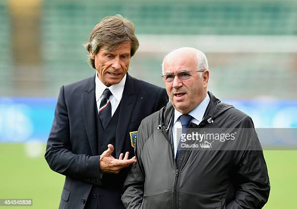 President FIGC Carlo Tavecchio and Team Manager Italy Gabriele Oriali during Italy Training Session at Stadio San Nicola on September 3 2014 in Bari...