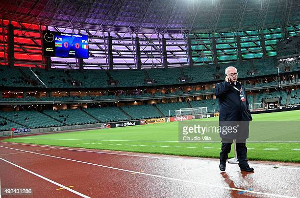 President FIGC Carlo Tavecchio attends prior to the UEFA Euro 2016 qualifying football match between Azerbaijan and Italy at Olympic Stadium on...