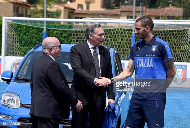 President FIGC Carlo Tavecchio COO FCA Alfredo Altavilla and Leonardo Bonucci attend Unveil New Panda Azzurri Car at Coverciano on May 26 2016 in...