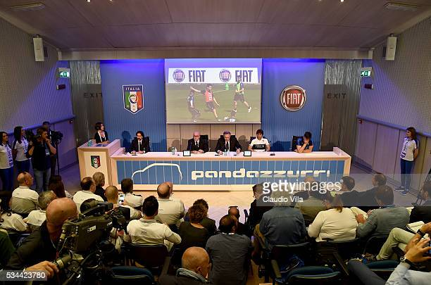 President FIGC Carlo Tavecchio COO FCA Alfredo Altavilla Head Coach Italy Antonio Conte and Gianluigi Buffon during a press conference for the Unveil...