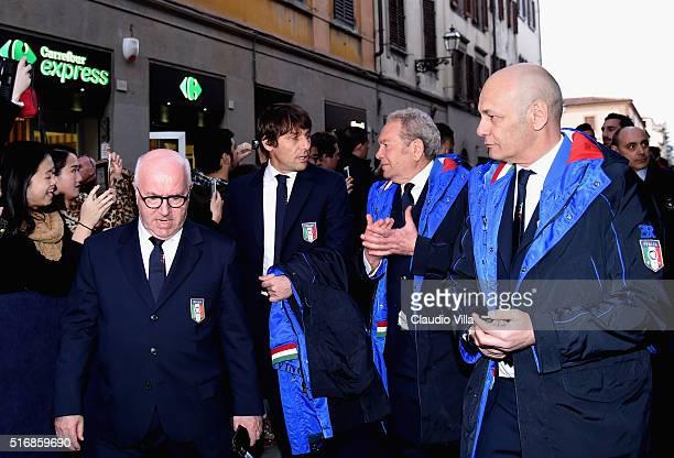 President FIGC Carlo Tavecchio Head Coach Antonio Conte and Ermanno Scervino attend launch the Ermanno Scervino Italy Suit on March 21 2016 in...