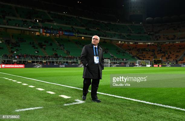 President FIGC Carlo Tavecchio inspect the pitch prior to the FIFA 2018 World Cup Qualifier PlayOff Second Leg between Italy and Sweden at San Siro...