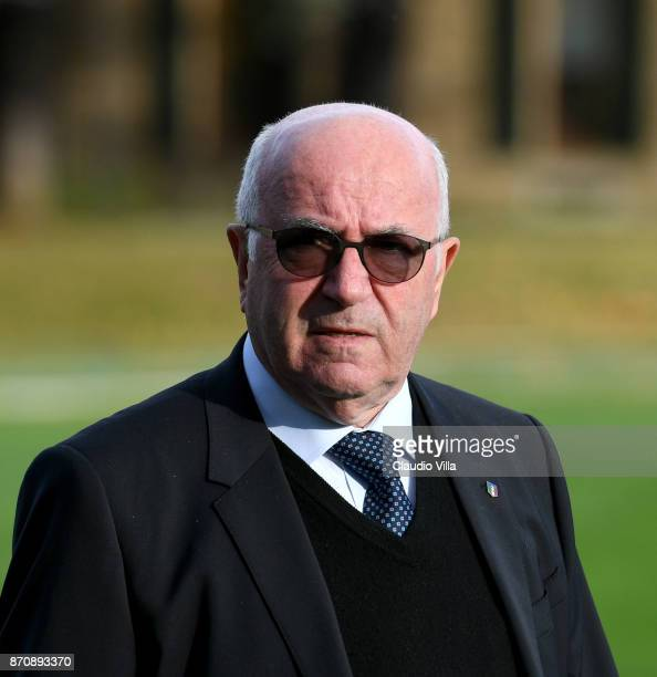 President FIGC Carlo Tavecchio looks on prior to the training session at Italy club's training ground at Coverciano on November 6 2017 in Florence...