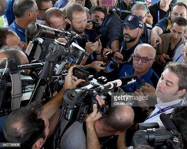 President FIGC Carlo Tavecchio speaks with the media during a press conference at Bernard Gasset Training Center on June 24 2016 in Montpellier France