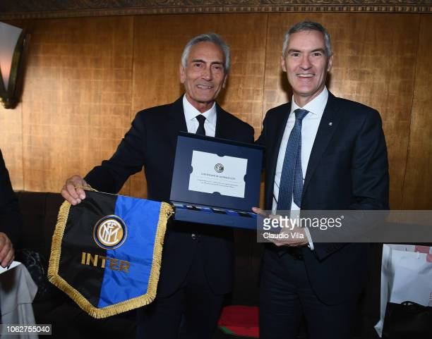 President FIGC Gabriele Gravina CEO FC Internazionale Alessandro Antonello poses for a photo before the UEFA Nations League A group three match...